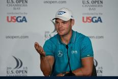 Jun 16, 2015; University Place, WA, USA; Martin Kaymer addresses the media in a press conference during practice rounds on Tuesday at Chambers Bay. Mandatory Credit: Michael Madrid-USA TODAY Sports