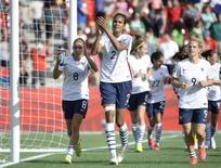 Jun 17, 2015; Ottawa, Ontario, CAN; France defender Wendie Renard (2) and teammates celebrate after defeating Mexico 5-0 in a Group F soccer match in the 2015 FIFA women's World Cup at Lansdowne Stadium. Mandatory Credit: Eric Bolte-USA TODAY Sports
