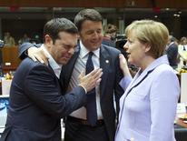 Greek Prime Minister Alexis Tsipras, Italian Prime Minister Matteo Renzi and German Chancellor Angela Merkel attend a European Union leaders summit in Brussels, Belgium, June 25, 2015. REUTERS/Yves Herman