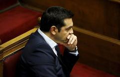 Primeiro-ministro da Grécia, Alexis Tsipras, durante sessão no Parlamento, em Atenas.  28/06/2015    REUTERS/Yannis Behrakis