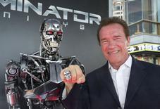 "Schwarzenegger durante lançamento de ""Exterminador do Futuro"" em Hollywood.  28/6/2015.   REUTERS/Mario Anzuoni"