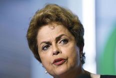 Presidente Dilma Rousseff durante entrevista coletiva na sede do Google, em Mountain View, nos Estados Unidos. 01/07/2015 REUTERS/Stephen Lam