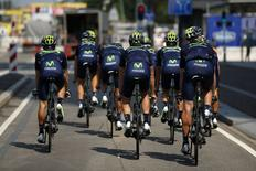 Movistar riders cycle during a team training session in Utrecht, Netherlands, July 3, 2015.  REUTERS/Benoit Tessier