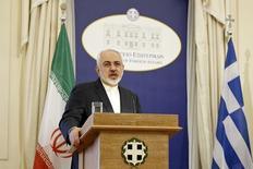 Ministro das Relações Exteriores iraniano, Mohammad Javad Zarif, durante entrevista coletiva em Atenas.  28/05/2015   REUTERS/Alkis Konstantinidis
