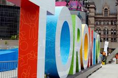 Jul 9, 2015; Toronto, Ontario, Canada; A view of the Toronto sign at Pan Am Park before preparation for the 2015 Pan Am Games. Mandatory Credit: Geoff Burke-USA TODAY Sports