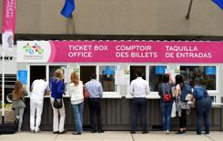 Jul 9, 2015; Toronto, Ontario, Canada; A general view as visitors purchase tickets at a box office in preparation for the 2015 Pan Am Games. Mandatory Credit: John David Mercer-USA TODAY Sports
