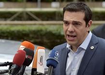 Primeiro-ministro grego, Alexis Tsipras, durante entrevista coletiva em Bruxelas.  12/07/2015   REUTERS/Eric Vidal