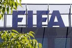 The logo of soccer's international governing body FIFA is seen on its headquarters in Zurich, Switzerland, May 27, 2015. REUTERS/Ruben Sprich