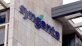 Swiss agrochemicals maker Syngenta's logo is seen at the company's headquarters in Basel  February 4, 2015.    REUTERS/Arnd Wiegmann