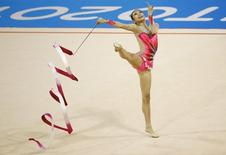 Jul 20, 2015; Toronto, Ontario, CAN; Laura Zeng of the United States competes in the rhythmic gymnastics ribbon final during the 2015 Pan Am Games at Toronto Coliseum. Mandatory Credit: Rob Schumacher-USA TODAY Sports