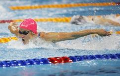 Mireia Belmonte of Spain swims to win the women's 200m butterfly event of the FINA Swimming World Cup at the Aquatic Centre in Singapore November 2, 2014. REUTERS/Edgar Su