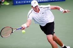 Jul 31, 2015; Atlanta, GA, USA; John Isner in action during the second set against Ricardas Berankis (not pictured) during the quarterfinals of the BB&T Open at Atlantic Station. Mandatory Credit: Garrett Reid-USA TODAY Sports