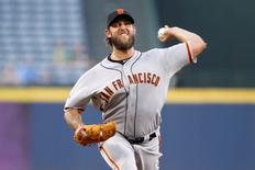 Aug 5, 2015; Atlanta, GA, USA; San Francisco Giants starting pitcher Madison Bumgarner (40) throws a pitch against the Atlanta Braves in the first inning at Turner Field. Mandatory Credit: Brett Davis-USA TODAY Sports