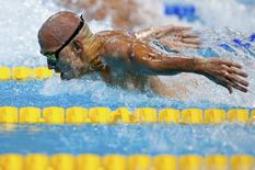 Hungary's Laszlo Cseh competes in the men's 100m butterfly semi-final at the Aquatics World Championships in Kazan, Russia, August 7, 2015. REUTERS/Hannibal Hanschke