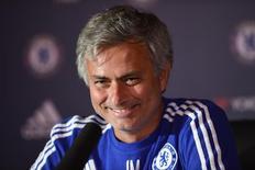 Técnico do Chelsea, José Mourinho, concede entrevista coletiva nesta sexta-feira. 07/08/2015 REUTERS/Action Images/Tony O'Brien/Livepic