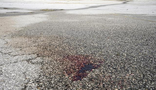 A pool of congealed blood marks the spot where police arrested Tyrone Harris after he was shot by police on Sunday night, in Ferguson, Missouri August 10, 2015. REUTERS/Rick Wilking