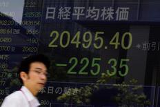 Un hombre camina junto a un tablero electrónico que muestra el índice Nikkei en Tokio, 12 de agosto de 2015. Las acciones japonesas cayeron por tercer día el jueves, a un nivel cercano al mínimo en seis semanas, por las preocupaciones sobre la economía china, pero SoftBank Group Corp subió con fuerza por la noticia de que su presidente comprará papeles de la compañía. REUTERS/Thomas Peter