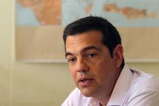 Primeiro-ministro grego, Alexis Tsipras, durante encontro ministerial em Atenas.  07/08/2015   REUTERS/Yiannis Kourtoglou