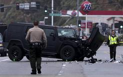 A damaged vehicle is pictured at the scene of a four-car crash involving Olympic gold medalist and reality TV star Caitlyn Jenner, then known as Bruce Jenner, in Malibu, California, in this February 7, 2015 file photo. REUTERS/Jonathan Alcorn/Files