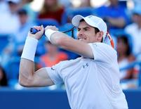 Aug 21, 2015; Cincinnati, OH, USA; Andy Murray (GBR) returns a shot against Richard Gasquet (not pictured) in the quarterfinals during the Western and Southern Open tennis tournament at the Linder Family Tennis Center. Aaron Doster-USA TODAY Sports