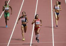 Allyson Felix of U.S. (2nd R) wins the women's 400 metres heats during the 15th IAAF World Championships at the National Stadium in Beijing, China August 24, 2015.  REUTERS/David Gray