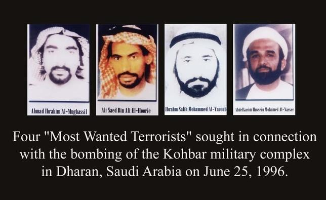 - UNDATED FILE PHOTOS - showing four men listed as ''most wanted terrorists'' and released by [Former President George W. Bush] at FBI headquarters in Washington DC, in this file picture from October 10, 2001. The men indicted in this case are from left to right:  Ahmed Ibrahim Al-Mughassil, Ali Saed Bin Ali El-Houri, Ibrhim Salih Mohammed Al-Yacoub and Abdelkarim Hussein Mohammed Al-Nasser.