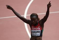 Joyce Zakary compete nos 400m do Mundial de Pequim.  24/8/2015.  REUTERS/David Gray