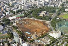 An aerial view shows the planned construction site (C) for the new National Stadium for 2020 Tokyo Olympics and Paralympics, in Tokyo, in this photo taken by Kyodo July 17, 2015. REUTERS/Kyodo