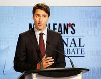 Canada's Liberal leader Justin Trudeau speaks during the Maclean's National Leaders debate in Toronto, August 6, 2015.  REUTERS/Mark Blinch