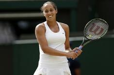 Madison Keys of the U.S.A. reacts during her match against Agnieszka Radwanska of Poland at the Wimbledon Tennis Championships in London, July 7, 2015.                       REUTERS/Henry Browne