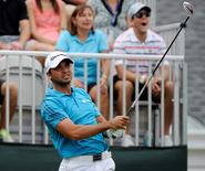 Aug 29, 2015; Edison, NJ, USA;  Jason Day tees off at the first hole during the third round of The Barclays at Plainfield Country Club.  Eric Sucar-USA TODAY Sports