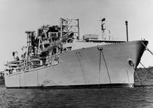 The Glomar Explorer ship is seen anchored in the U.S. Navy's National Defense Reserve Fleet anchored in Suisan Bay, California in this U.S. Navy handout file photo taken on May 15, 1977 and released to Reuters by the Archives Branch of The U.S. Naval History and Heritage Command in Washington, September 3, 2015. REUTERS/US Navy/Archives Branch, Naval History and Heritage Command, Washington/Handout