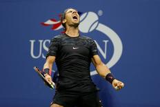 Sep 4, 2015; New York, NY, USA; Rafael Nadal of Spain reacts after winning a point against Fabio Fognini of Italy (not pictured) on day five of the 2015 U.S. Open tennis tournament at USTA Billie Jean King National Tennis Center. Geoff Burke-USA TODAY Sports/Reuters. Picture Supplied by Action Images