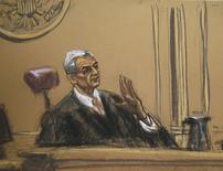 Judge Richard Berman listens to proceedings in this courtroom sketch during hearing in Manhattan Federal Courthouse in New York August 12, 2015. REUTERS/Jane Rosenberg