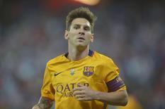 Atacante do Barcelona, Lionel Messi, em partida contra o Athletic Bilbao. 14/08/2015 REUTERS/Vincent West