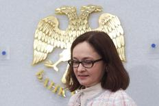 Russia's Central Bank Governor Elvira Nabiullina arrives at a news conference after the bank's second monetary policy meeting of the year in Moscow March 13, 2015. REUTERS/Sergei Karpukhin