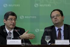 Ministros Joaquim Levy e Nelson Barbosa concedem entrevista em Brasília.  14/9/2015.  REUTERS/Ueslei Marcelino