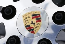A logo is seen on a wheel of a Porsche car during the company's annual meeting in Stuttgard, Germany, May 13, 2015.  REUTERS/Ralph Orlowski