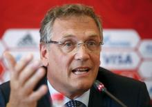 FIFA Secretary General Jerome Valcke speaks as he attends a news conference during his visit to the southern city of Samara, one of the 2018 World Cup host cities, Russia, June 10, 2015. FIFA will postpone the start of bidding for the right to host the 2026 World Cup following the launch of a corruption investigation, a senior official in soccer's governing body said on Wednesday. REUTERS/Maxim Zmeyev