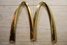 The McDonald's 'golden arches' are displayed in a restaurant in New York July 23, 2015.  REUTERS/Brendan McDermid