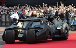 The 'Batmobile' arrives for the European Premiere of The Dark Knight in Leicester Square in central London July 21 2008.REUTERS/Toby Melville