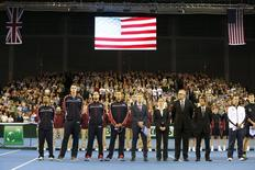 A general view of the USA team during the national anthems. Tennis - Great Britain v United States of America - Davis Cup World Group First Round - Emirates Arena, Glasgow, Scotland - 6/3/15. Action Images via Reuters / Andrew Boyers