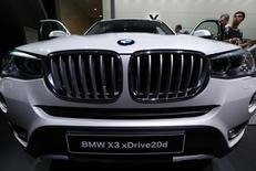 A BMV X3 xDrive20d is seen on display at the Frankfurt Motor Show (IAA) in Frankfurt, Germany September 24, 2015. BMW said it has not manipulated emissions tests, denying a magazine report saying some of its diesel cars were found to exceed emissions standards. REUTERS/Ralph Orlowski