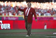 Jul 14, 2015; Cincinnati, OH, USA; Pete Rose is honored prior to the 2015 MLB All Star Game at Great American Ball Park. Mandatory Credit: Frank Victores-USA TODAY Sports