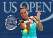 Aug 31, 2015; New York, NY, USA; Jelena Jankovic of Serbia returns a shot against Oceane Dodin of France on day one of the 2015 U.S. Open tennis tournament at USTA Billie Jean King National Tennis Center. Mandatory Credit: Jerry Lai-USA TODAY Sports