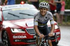 Etixx-Quick Step rider Michal Kwiatkowski of Poland rides in the 195-km (121.16 miles) 12th stage of the 102nd Tour de France cycling race from Lannemezan to Plateau de Beille, in the French Pyrenees mountains, France, July 16, 2015. REUTERS/Benoit Tessier