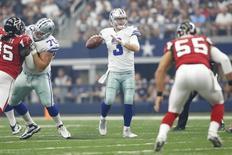 Sep 27, 2015; Arlington, TX, USA; Dallas Cowboys quarterback Brandon Weeden (3) throws a pass in the first quarter against the Atlanta Falcons at AT&T Stadium. Mandatory Credit: Tim Heitman-USA TODAY Sports