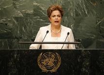 Presidente Dilma Rousseff discursa na Assembleia-Geral da ONU. 28/09/2015 REUTERS/Mike Segar