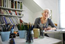 British children's writer and illustrator Judith Kerr chats as she sits by her desk at her home in west London, Britain September 30, 2015.  REUTERS/Dylan Martinez