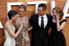 """Kate Mara, Kristen Wiig, Matt Damon and Jessica Chastain arrives for the UK premiere of """"The Martian"""" at Leicester Square in London. REUTERS/Stefan Wermuth"""